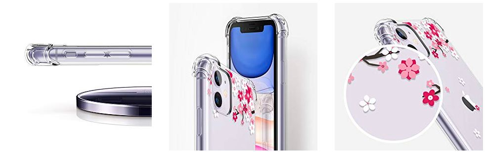 Clear Flower Design Soft & Flexible Iphone 11 Case for Girls