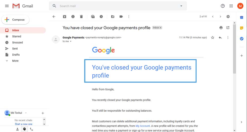 Google Payment Account